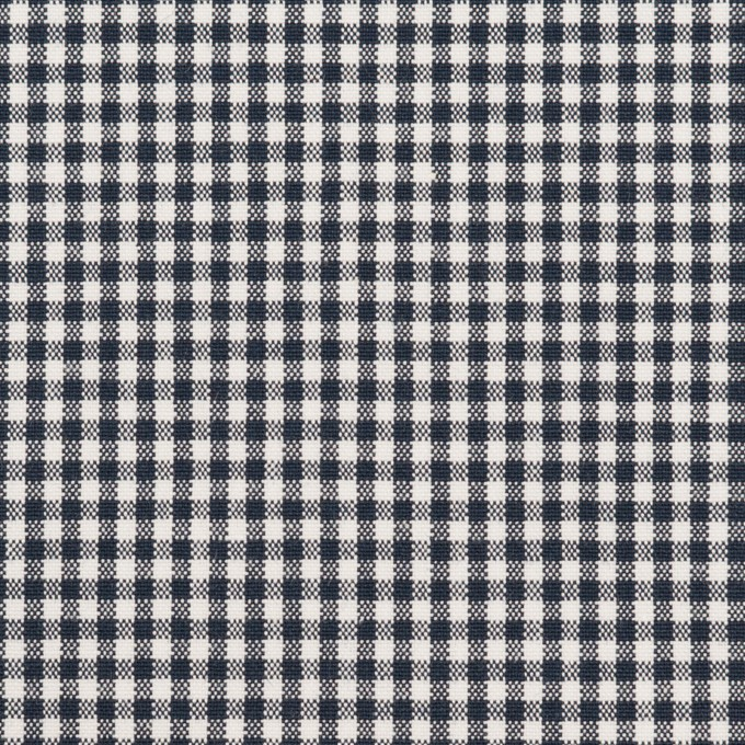 コットン&ポリウレタン×チェック(ダークネイビー)×ポプリンストレッチ イメージ1