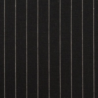 コットン&リネン混×ストライプ(ブラック)×ポプリンストレッチ