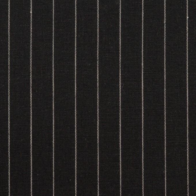 コットン&リネン混×ストライプ(ブラック)×ポプリンストレッチ イメージ1