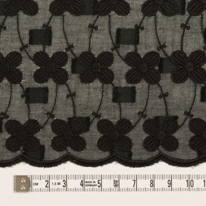コットン×フラワー(ブラック)×ボイルカットジャガード刺繍 イメージ6