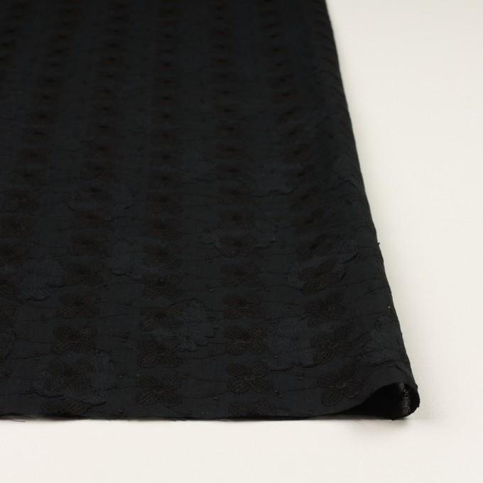 コットン×フラワー(ブラック)×ボイルカットジャガード刺繍 イメージ3