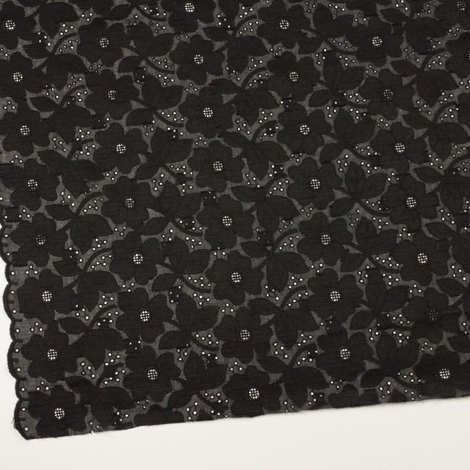 コットン×フラワー(ブラック)×ボイルカットジャガード刺繍 イメージ2