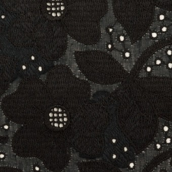 コットン×フラワー(ブラック)×ボイルカットジャガード刺繍