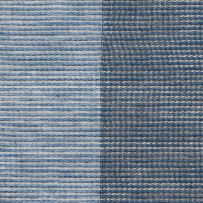 コットン&リネン混×ボーダー(アッシュブルー&アッシュネイビー)×ボイル イメージ1