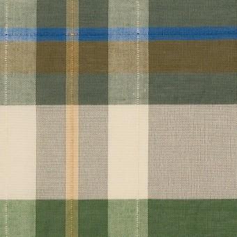 コットン&ポリエステル×チェック(フォリッジグリーン&スレートグリーン)×ボイルワッシャー_パネル サムネイル1