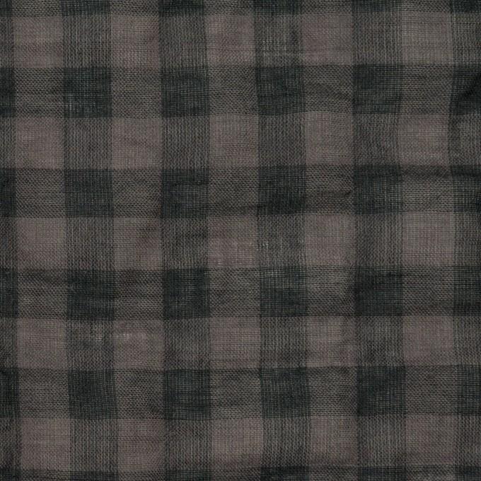 コットン&ポリウレタン×チェック(チャコール)×ボイルシャーリング イメージ1
