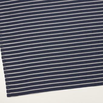 コットン&ポリエステル×ボーダー(アッシュネイビー)×オーガンジー・ジャガード_全2色 サムネイル2