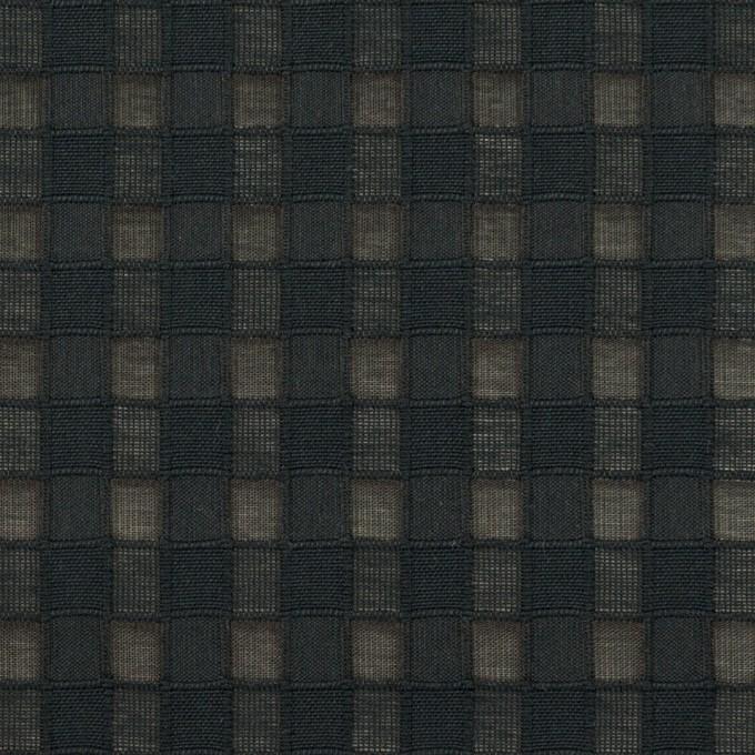 コットン&シルク×チェック(ブラック)×オーガンジー・ジャガード イメージ1