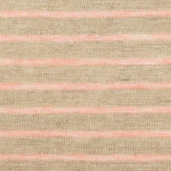 リネン×ボーダー(オートミール&サーモン)×天竺ニット_全2色 サムネイル1
