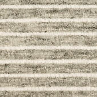 リネン×ボーダー(杢グレー&オフホワイト)×天竺ニット_全2色 サムネイル1
