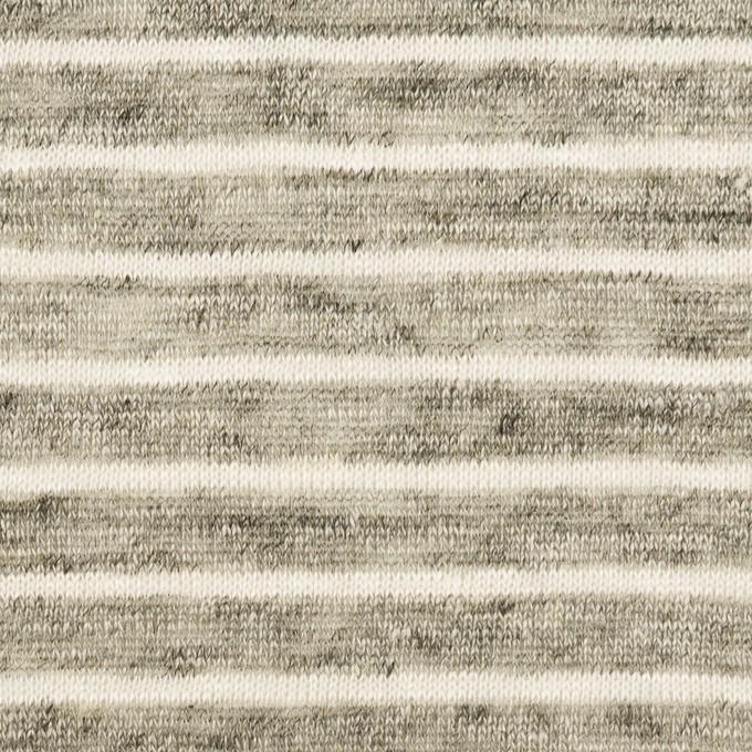 リネン×ボーダー(杢グレー&オフホワイト)×天竺ニット_全2色 イメージ1