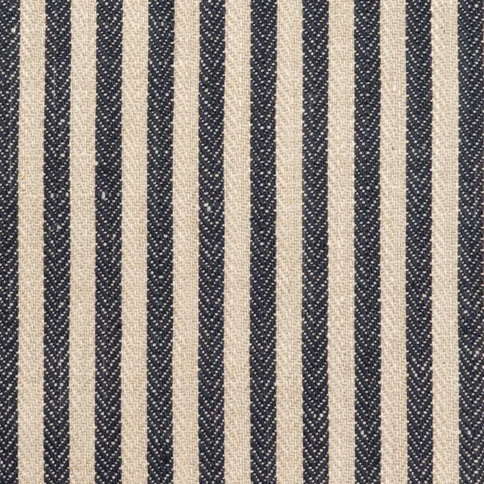 リネン×ストライプ(グレイッシュベージュ&ネイビー)×ヘリンボーン イメージ1