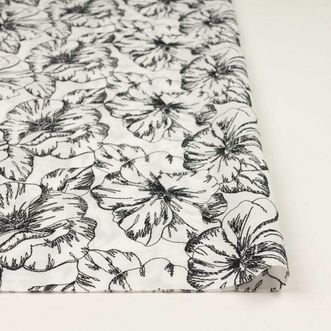 コットン×フラワー(オフホワイト&ブラック)×ローン刺繍_全3色 イメージ3