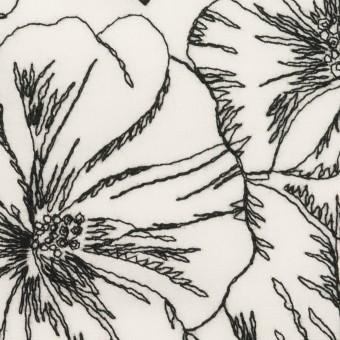 コットン×フラワー(オフホワイト&ブラック)×ローン刺繍_全3色