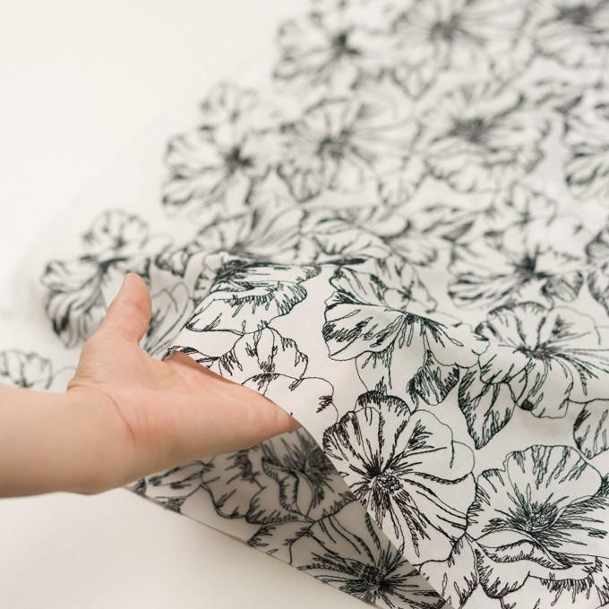 コットン×フラワー(オフホワイト&ブラック)×ローン刺繍_全3色 イメージ5