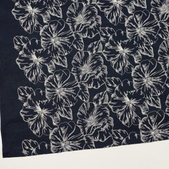 コットン×フラワー(ダークネイビー&オフホワイト)×ローン刺繍_全3色 サムネイル2