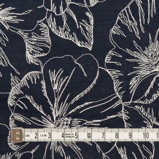 コットン×フラワー(ダークネイビー&オフホワイト)×ローン刺繍_全3色 イメージ4