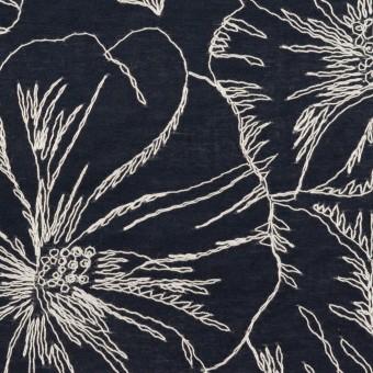 コットン×フラワー(ダークネイビー&オフホワイト)×ローン刺繍_全3色