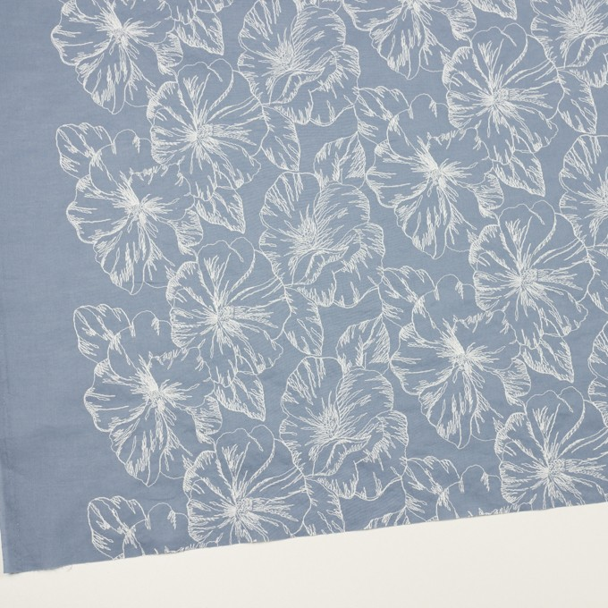 コットン×フラワー(フロスティブルー&オフホワイト)×ローン刺繍_全3色 イメージ2