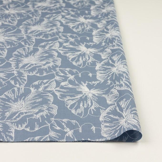 コットン×フラワー(フロスティブルー&オフホワイト)×ローン刺繍_全3色 イメージ3