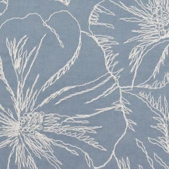 コットン×フラワー(フロスティブルー&オフホワイト)×ローン刺繍_全3色