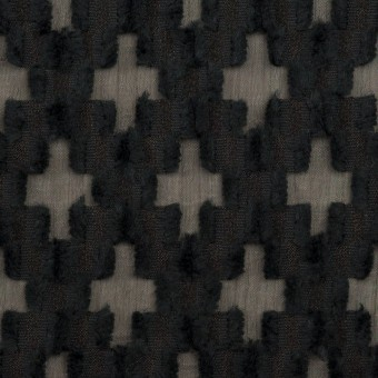 コットン&ナイロン×幾何学模様(ブラック)×オーガンジー・カットジャガード