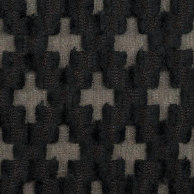 コットン&ナイロン×幾何学模様(ブラック)×オーガンジー・カットジャガード イメージ1