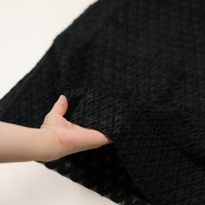 コットン&ナイロン×幾何学模様(ブラック)×オーガンジー・カットジャガード イメージ5