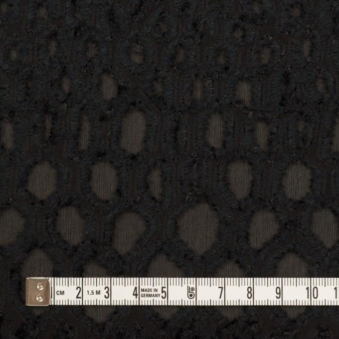 レーヨン&シルク×幾何学模様(ブラック)×ジョーゼット・カットジャガード イメージ4