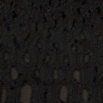 レーヨン&シルク×幾何学模様(ブラック)×ジョーゼット・カットジャガード