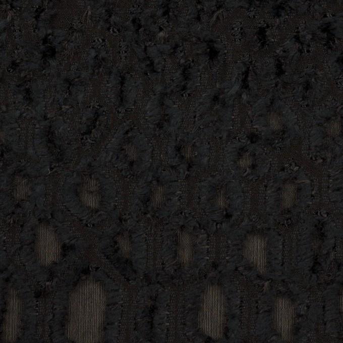 レーヨン&シルク×幾何学模様(ブラック)×ジョーゼット・カットジャガード イメージ1