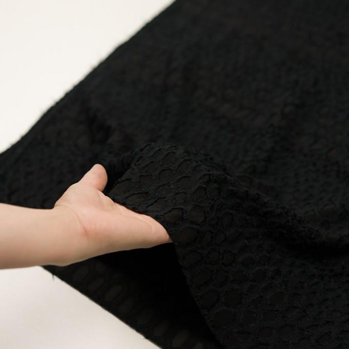 レーヨン&シルク×幾何学模様(ブラック)×ジョーゼット・カットジャガード イメージ5