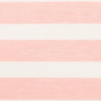 コットン&ポリエステル×ボーダー(ピンク)×天竺ニット_全3色 サムネイル1