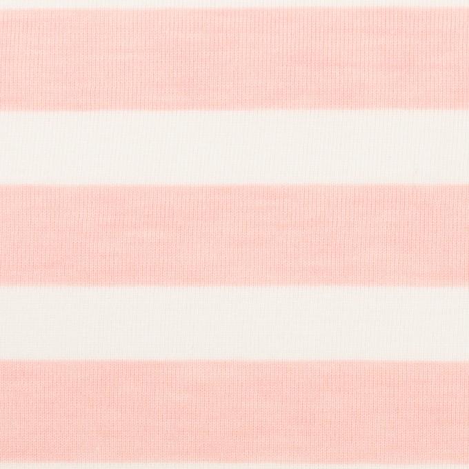 コットン&ポリエステル×ボーダー(ピンク)×天竺ニット_全3色 イメージ1