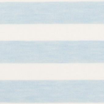コットン&ポリエステル×ボーダー(サックス)×天竺ニット_全3色 サムネイル1