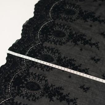 コットン×フラワー(ブラック)×ボイル刺繍 サムネイル6