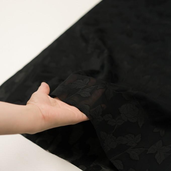コットン×フラワー(ブラック)×ボイルカットジャガード イメージ5