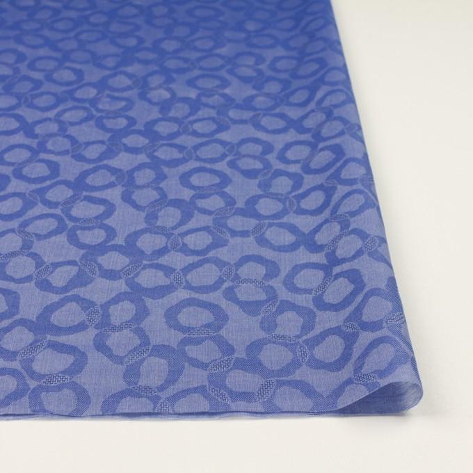 コットン&シルク×幾何学模様(ブルー)×ボイルジャガード イメージ3