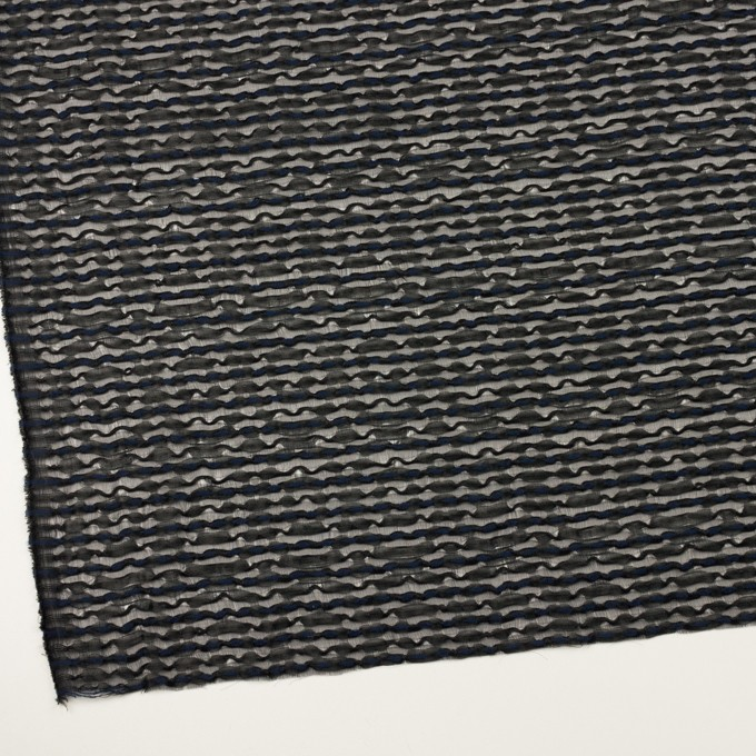 コットン&ナイロン混×ボーダー(ブラック&ミッドナイトブルー)×ボイルジャガード イメージ2