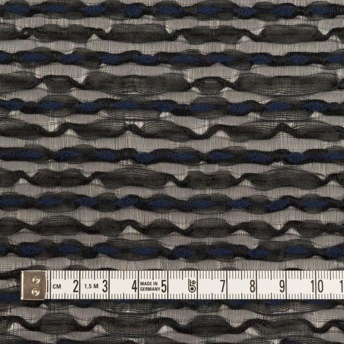 コットン&ナイロン混×ボーダー(ブラック&ミッドナイトブルー)×ボイルジャガード イメージ4