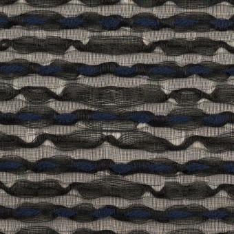 コットン&ナイロン混×ボーダー(ブラック&ミッドナイトブルー)×ボイルジャガード サムネイル1