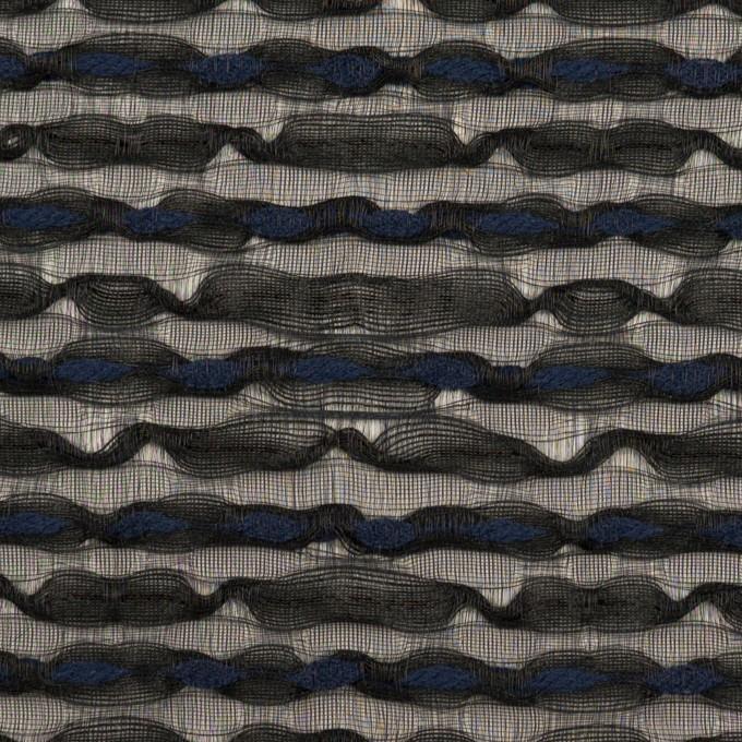 コットン&ナイロン混×ボーダー(ブラック&ミッドナイトブルー)×ボイルジャガード イメージ1