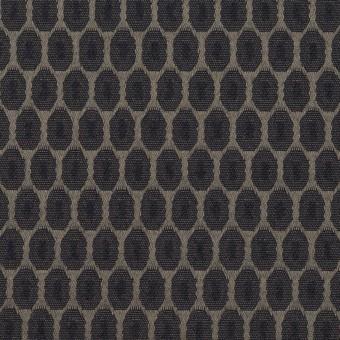 コットン&ポリエステル混×小紋(ダークネイビー&チャコールブラック)×サテンジャガード_フランス製