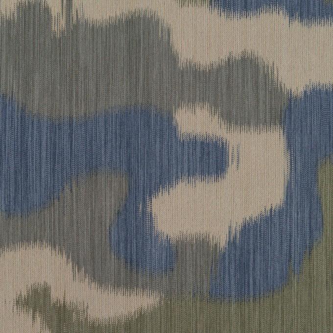ポリエステル×迷彩(カーキグリーン&ブルー)×形状記憶タフタ イメージ1