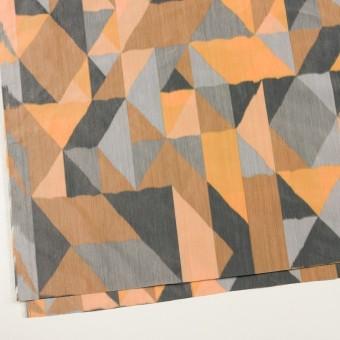 ポリエステル×幾何学模様(オレンジ&グレー)×形状記憶タフタ_全2色 サムネイル2