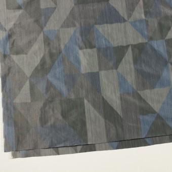 ポリエステル×幾何学模様(グレー&ブルー)×形状記憶タフタ_全2色 サムネイル2