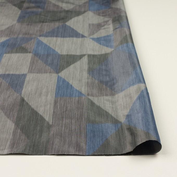 ポリエステル×幾何学模様(グレー&ブルー)×形状記憶タフタ_全2色 イメージ3