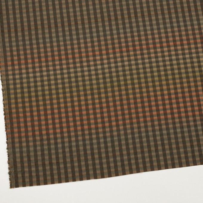 キュプラ&ナイロン×チェック(レンガ&カーキグリーン)×オーガンジー イメージ2