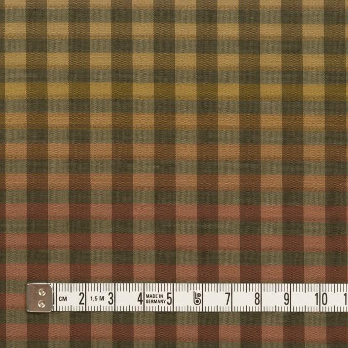 キュプラ&ナイロン×チェック(レンガ&カーキグリーン)×オーガンジー イメージ4