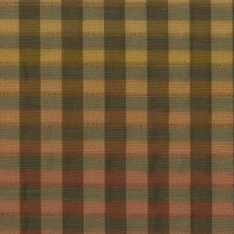キュプラ&ナイロン×チェック(レンガ&カーキグリーン)×オーガンジー サムネイル1